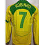 Brasil # 7 Robinho Jogo Manga Longa 2005 Nike Unif.1 G Total