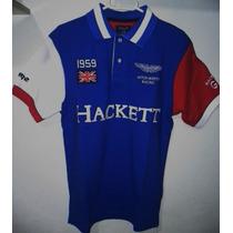 Camisa Polo Masculina Hackett Aston Martin - Azul Original