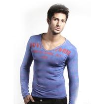 Camiseta Manga Longa Gola V Blue Usa