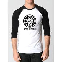 Camisa Rosa De Saron Raglan 3/4 Rock