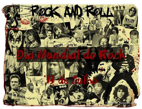 Camiseta Dia Mundial Do Rock,13 De Julho Dia Mundial Rock