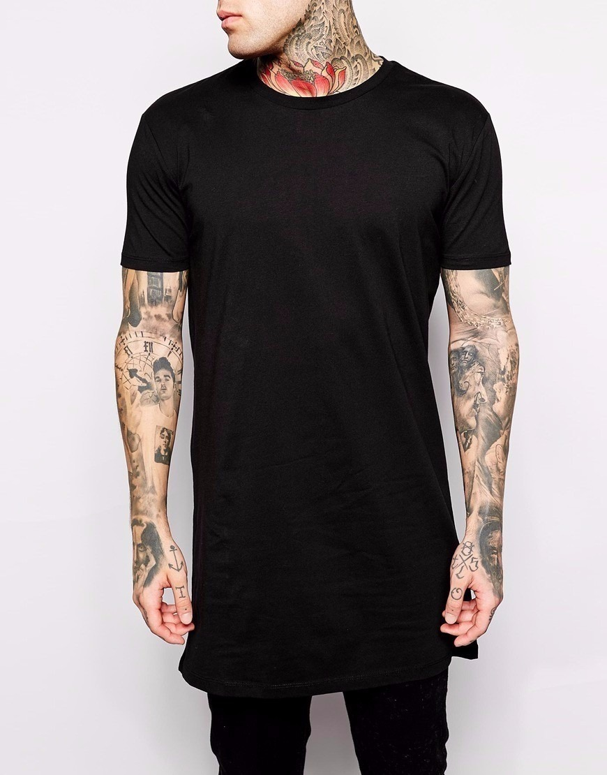 Camiseta Masculina Swag Bag Oversized Long Line T Shirt ...