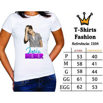 Justin Bieber Gusttavo Lima Luan Santana Camiseta Baby Look
