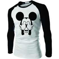 Camiseta Mickey Dedo Do Meio Raglan Manga Longa Rock
