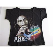 Blusinha Bata Cropped Bob Marley - Flash Rock