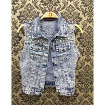 Colete Jeans Com Perola Feminina De Verao