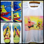 Combo Kit Bob Esponja E Patrick = Camiseta + Caneca + Chinel