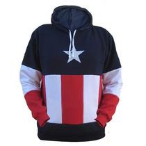 Blusa De Moletom Infantil - Capitão América Listrado