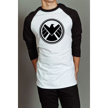 Camiseta Raglan Manga Longa Agents Of Shield Marvel