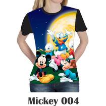 Camiseta Blusa Mickey Minie Disney Feminina Baby Look 004