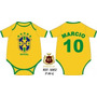Body Infantil Seleção Brasileira Com O Nome Do Bebê E Numero
