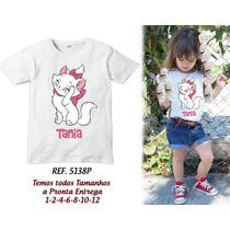Camiseta Infantil Gatinha Marie Gata Mary Personagens