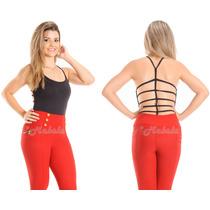 Body Feminino Collant Suplex Costa Nua Com Tiras Gladiadora