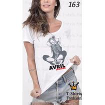 Camiseta T-shirt Lavigne Fashion Feminino Blusa Baby Look