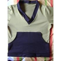 Blusa / Camiseta Preta E Verde, Invent, Tam M
