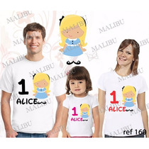 Lembrança De Aniversario Alice No Pais Camiseta Kit Com 3