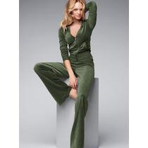 Cj Plush Calça Casaco Capuz Verde Militar Victorias Secret