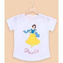 Camiseta Infantil Personalizada Branca De Neve