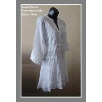 Bata Saida Praia Plus Size M Gg 52 54 Bordada Branca Vestido