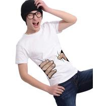 Camiseta Manga Curta Divertida Hand Grip