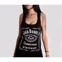 Blusa Camiseta Regata Cavada Feminina Media Jack Daniels