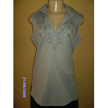 Bh017 - Brecho Blusa Azul Da Anne Kanner Manequim 40