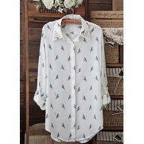 Camisa/blusa Estampa Pássaros Com Detalhes Spike Em Cristais