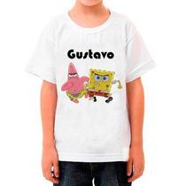 Camiseta Bob Esponja Infantil Com Nome Da Criança