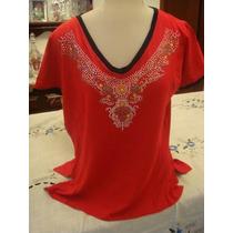 Blusa Em Viscolycra Vermelha E Preta Tam. G Com Brilhos