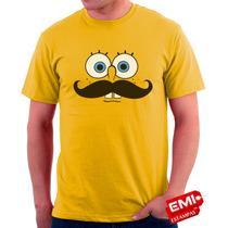 Camisetas Engraçadas Divertidas Bob Esponja Bigode 1774