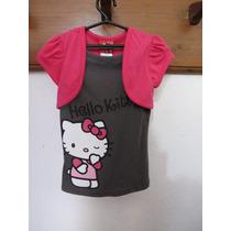 Camiseta Com Bolero Hello Kitty Manga Curta Importada!!