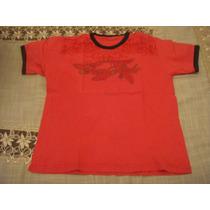 Blusa Camiseta Vermalha E Preta Infantil Tam. 08 Anos