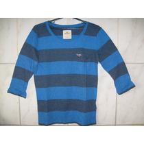 Camiseta Hollister Manga Longa Listrada Tamanho Pp 62cmx46cm