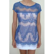 Blusa Renda Azul Litt By Agilitá Nova Tam M