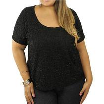 Blusa Preta Mullet Renda E Brilho Moda Plus Size Exg 50 52