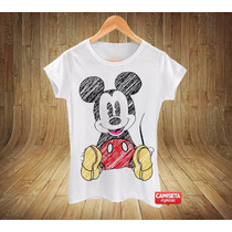 Blusa Feminina Baby Look Mickey Desenhado Camiseta Legal