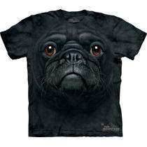 Camiseta Cão Cachorro Pug Preto Face - The Mountain