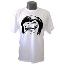 Camiseta Memes Troll Face Girl Panico Engraçada Sátiras