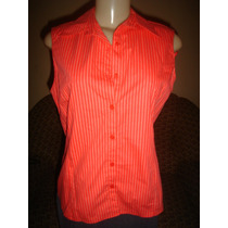Blusa Vermelha Branca,risca De Giz,social,cortelle,tam M-42