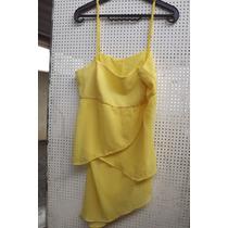 Blusa De Alças Reguláveis De Musseline Amarelo