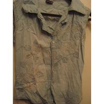 Blusa Em Jeans C/ Bordados De Flores Tam M