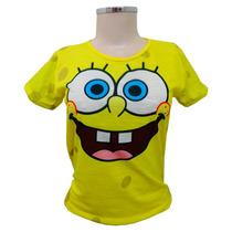 Camiseta Baby Look Feminina Bob Esponja Personalizada