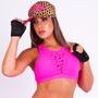 Top Corte A Laser Miami Ink Coleção Sue Lasmar Fitness Pink