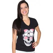 Camiseta Volcom Shady Skulz Feminina Tinted Black