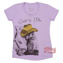 Camiseta Baby Look Feminina Lilás 100% Algodão