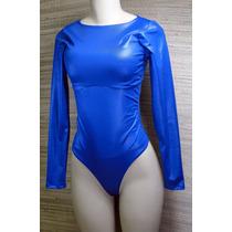 Body Redutor Mooah Decote Reto Azul Brilho Divo!!!