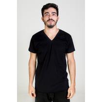 Camisa Basica Lisa Gola V Funda 100% Algodão Pronta Entrega