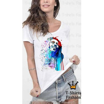Camiseta T- Shirt Bob Marley Feminina Personalizada