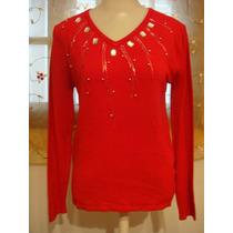 Blusa Malha Fria Vermelha Bordada Pedraria Tam. Unico