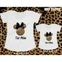 Minnie T-shirts Cha Nel De Onça Tal Mãe Tal Filha Com Laço